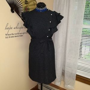 Vintage 1970s pinstripe ruffle sleeve dress